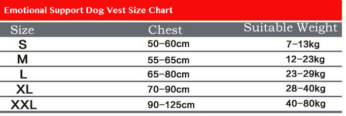 Therapy Dog Vest Sizes